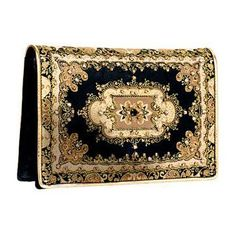 Black and Golden Suede Clutch