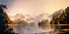 Tim Wilson, Autumn Haze Lake Te Anau New Zealand. Oil on Berge Linen. 75cm x 150cm (Private collection, New Zealand).