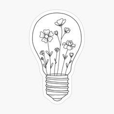Light Bulb Drawing, Light Bulb Art, Painted Light Bulbs, Light Bulb Quotes, Small Flower Drawings, Small Flower Tattoos, Cute Small Drawings, White Board Drawings, Lightbulb Tattoo