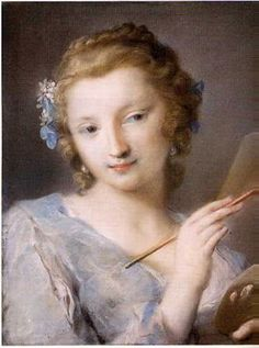 Rosalba Carriera (1675-1757)PASTEL Allegory of Painting, ca. 1720.  To reproduce sfumato, she stumped the high-key strokes of flesh color. Broad application of pastel on the woman's dress creates the illusion of a fluffy, transparent material. Deft touches of pastel as highlights make the hair silky, the earrings sparkle, and the lips moist. She not only made pastels fashionable in the 18th C., she also established models of lightness and charm that became standards for the Rococo…