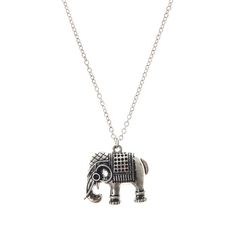 Save 63% - Was £5.50 - Now £2.00  Silver Elephant Pendant Necklace. Dimensions: Total chain L 44cm. Metal.