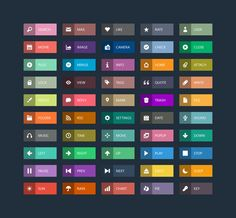 Flat Long Shadow Web Buttons PSD Vol.2