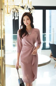 Korean Women`s Fashion Shopping Mall, Styleonme. Work Dresses For Women, Elegant Dresses For Women, Simple Dresses, Pretty Dresses, Beautiful Dresses, Casual Dresses, Clothes For Women, Clothes Sale, Women's Clothes
