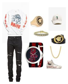 BOYFRIEND outfit 1 by hannah-elizabeth-issa on Polyvore featuring polyvore, Urban Outfitters, Yves Saint Laurent, Golden Goose, Gucci, Versace, men's fashion, menswear and clothing