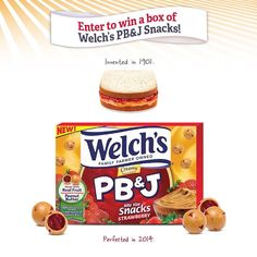 Enter now for a chance to win a FREE box of Welch's NEW PB&J Snacks each week in March