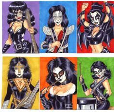 Here's a sketch card set of girls dressed as members from the Kiss band. Heavy Metal Girl, Heavy Metal Bands, Paul Stanley, Gene Simmons, Rock Band Photos, Dibujos Pin Up, Kiss World, Vintage Kiss, Band Wallpapers