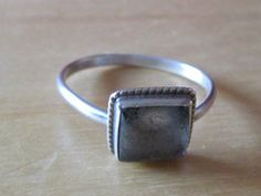 New Listing Started Fine Silver Signet Ring with square unknown stone size N.1/2 in used condition £2.55