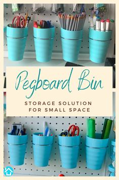 Pegboard Bins with Rings Set Of 4 - Ergonomic & Pegboard Accessories Cups- Peg Board Attachments for Art & Craft Supplies - Sturdy Pegboard Organizer Baskets Kit for Storage Pegboard Craft Room, Pegboard Organization, Craft Rooms, Organization Ideas, Storage Ideas, Diy Organizer, Binder Storage, Garage Storage, Organisation
