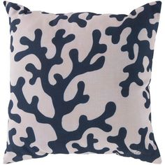 Charming Coral Navy and Beige 18-Inch Pillow with Poly Fill