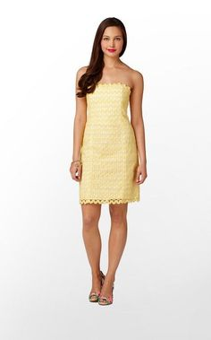 NWT Lilly Pulitzer Starfruit Yellow Ric Rac Strapless Dress Size 6 Retails $298 #LillyPulitzer #Sundress