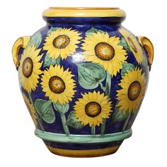 Terra cotta vase with sunflowers, Florence, Italy 1950
