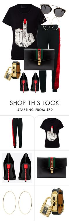 """Untitled #200"" by styledbytammy ❤ liked on Polyvore featuring Philipp Plein, Yves Saint Laurent, Gucci, Kenneth Jay Lane, Hermès and Christian Dior"