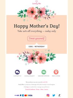 Announce an exciting Mother's Day email promotion with this beautiful Mother's Day email template - exclusively available in Mail Designer 365 Mother's Day Promotion, Html Email Templates, Best Email, Email Newsletters, Email Design, Happy Mothers Day, Place Card Holders, Spring, Beautiful