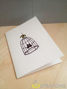 Lovebirds Under Mistletoe Notecard. $4.50, via Etsy.