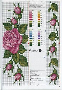 Really nice Cross-Stitch towel flowers patterns. Cross Stitch Bookmarks, Cross Stitch Rose, Cross Stitch Borders, Cross Stitch Flowers, Cross Stitch Charts, Cross Stitch Designs, Cross Stitching, Cross Stitch Embroidery, Embroidery Patterns