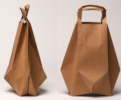 Paper foldbag wide by Ilvy Jacobs made in The Netherlands on CrowdyHouse #origami #paper #bag