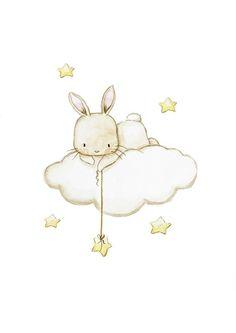 "SET of three Nursery Art ""BUNNIES with STARS"" Archival Print, Nursery wall art, Bunnies nursery prints, Bunny wall art, watercolor bunny art - Animals Bunny Drawing, Bunny Art, Wall Drawing, Baby Wall Art, Nursery Wall Art, Nursery Drawings, Nursery Ideas, Clouds Nursery, Kawaii Drawings"