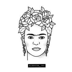 FRIDA KAHLOAVAILABLE..#tattoo | WEBSTA - Instagram Analytics Outline Drawings, Tattoo Drawings, Tattoos, Frida Tattoo, Painted Rock Cactus, Kahlo Paintings, Frida Art, Desenho Tattoo, Art Journal Techniques