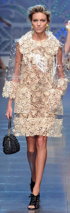 Dolce & Gabbana, never thought of putting lace and vinyl together but this looks pretty cool.