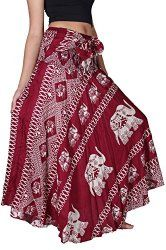 Bangkokpants Women's Long Bohemian Hippie Skirt Elephant Red US Size 0-12 - Imported The Original Bangkokpants Made by Fair Trade Manufacturer From Thailand Thin and soft fabric for wearing comfort,light with Handmade 100% Rayon US Size 0-12 or XS-L Beautiful Hippie Bohemian design and Handmade 100% Wear as a casual day dress or for special occasion
