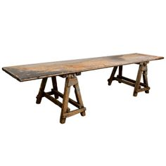 Large Sawbuck Table | From a unique collection of antique and modern industrial and work tables at http://www.1stdibs.com/tables/industrial-work-tables/