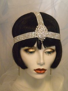 1920s Bridal Headpiece Flapper Headband by elisevictoriadesigns