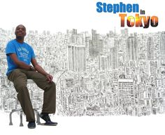 Stephen at the left end of his Tokyo panorama Stephen Wiltshire, Extraordinary People, Tokyo, Printmaking, Turtle, Drawing, Artist, Turtles, Tokyo Japan