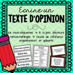 French Opinion Writing/Écrire un texte d'opinion by Mme McIntosh Opinion Writing, Persuasive Writing, Writing Prompts, Writing Lessons, Essay Writing, Transition Words And Phrases, Teaching French Immersion, French Flashcards, French Education
