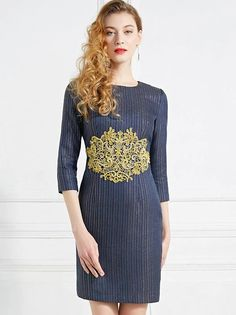 Fashion Embroidery Stitching Stripe O-Neck Bodycon Sheath Dress