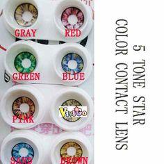 1) colorful scare lenses  2) sandwich technology  3) color contact lenses make you a different apperance