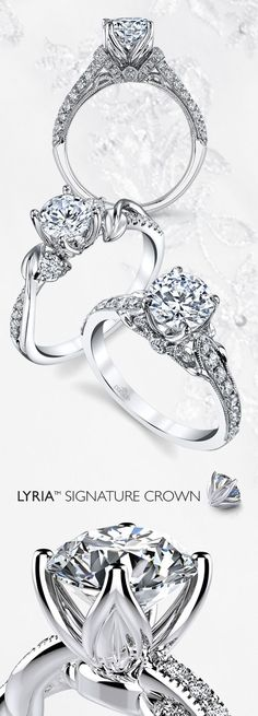 Illuminate and Showcase Your Shining Diamond!  Blooming petal shaped prongs beautifully and securely embrace stones while maximizing brilliance and sparkle: The Lyria Signature Crown by Parade Design #weddingring