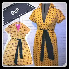 Rare DvF Top Wrap Dress So adorable! Pink lining with yellow overlay that has squares cut out. Good condition. Diane von Furstenberg Dresses