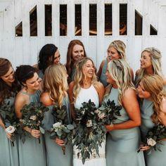 "3,372 Likes, 111 Comments - Mumu Weddings (@mumuweddings) on Instagram: ""Squad goals in Silver Sage bridesmaid dresses #mumuweddings"""