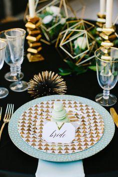 Contemporary Geomentirc Mint-Wedding   Modern Glam Wedding Place Setting