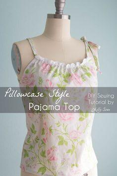 Sew Pillowcase Top Pajamas - DIY sewing tutorial from a vintage sheet - Melly Sews