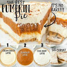 No Bake Pumpkin Cheesecake, No Bake Pumpkin Pie, Cheese Pumpkin, Baked Pumpkin, Pumpkin Dessert, Pie Dessert, Best Pumpkin Pie Recipe, Pumpkin Recipes No Bake, No Bake Recipes