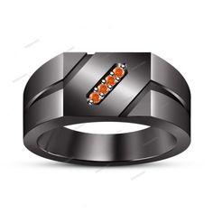 New Exclusive 14 Carat 14K Black Gold Finish Silver Orange Sapphire Wedding Ring…
