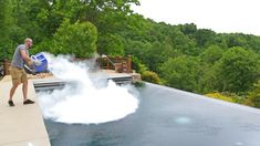 An Experiment to See What Happens When 30 Pounds of Dry Ice Is Dumped Into a Swimming Pool
