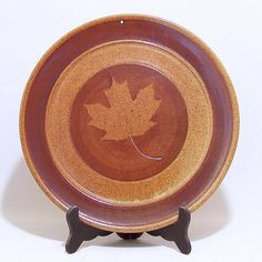 Maple Leaf design Pottery 11 inch Serving Plate and by JimAndGina #decor #vintage