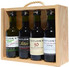 A special release of this limited edition wonderful miniature Port Gift set, presented in a wooden box. Contains 1 x 5cl of each of the following: (Chip Dry, Select Reserve, 10yo Tawny and LBV).