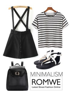 """""""Minimal // Romwe"""" by sphinx-moth ❤ liked on Polyvore featuring StreetStyle, stripes, blackandwhite, romwe and contestentry"""