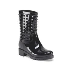 Adele Short Studded Rain Boot ($20) ❤ liked on Polyvore featuring shoes, boots, ankle booties, faux boots, rubber boots, studded ankle booties, short booties and studded booties