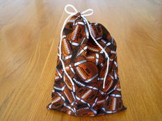 Football USA Drawstrings 6x8 Dark Brown, White, 100% COTTON Sports Gift Bags Candy Gaming Pouch Trading Cards Birthday Kids Party Men Women ~ Available on www.MaliakeiBags.com