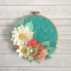 Felt flower hoop floral embroidery hoop felt flower decor