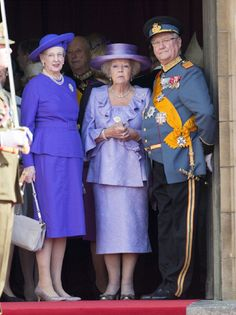 (L-R) Queen Margrethe II of Denmark, Queen Beatrix of the Netherlands and Prince Henrik of Denmark attend the wedding ceremony in Luxembourg