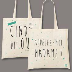 xxxx dit OUI au Recto et Appelez-moi Madame au verso  Un cadeau personnalisé pour vos proches, pour un sac cadeau ou un cadeau dans le sac !