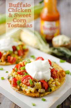 Buffalo Chicken & Sweet Corn Tostadas are a quick and easy healthy dinner recipe. Sweet corn, greek yogurt and bleu cheese add amazing flavor and crunch. Healthy Buffalo Chicken, Healthy Chicken Recipes, Healthy Dinner Recipes, Mexican Food Recipes, Cooking Recipes, Mexican Dishes, Yummy Recipes, Yummy Food, Tostadas