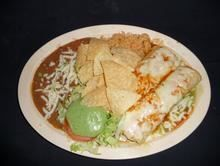 Two Enchiladas Combo :With green (mild), mixed (medium), or red salsa (spicy). Served with rice and beans, with your choice of meat from Pico Pica Rico Restaurant in Los Angeles #Food #Enchiladas #Restaurant forked.com