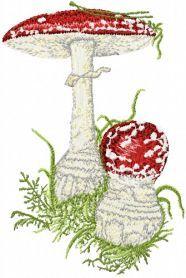 Amanita muscaria machine embroidery design. Machine embroidery design. www.embroideres.com