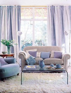 Anchor your decor with pale purple and lavender drapes